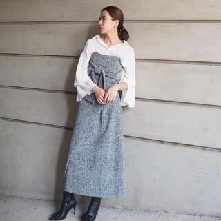 ダブルスタンダードクロージング(DOUBLE STANDARD CLOTHING)のフロントボタンツイードスカート Mサイズ(ロングスカート)