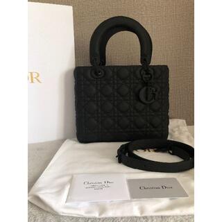 クリスチャンディオール(Christian Dior)の美品Dior レディディオール ウルトラマット ミディアムバッグ ブラック(ショルダーバッグ)