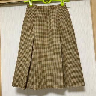 ロペ(ROPE)のROPE 千鳥柄ボックスプリーツスカート ウール100%(ひざ丈スカート)