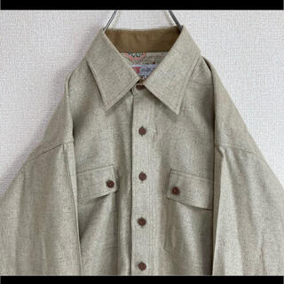 小紋工房 シルクシャツ 絹 長袖 ベージュ系 M 日本製