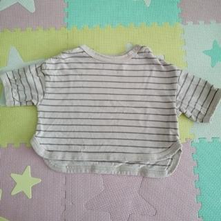 petit main - 【美品】apres les cours 裾ラウンドボーダーTシャツ 80