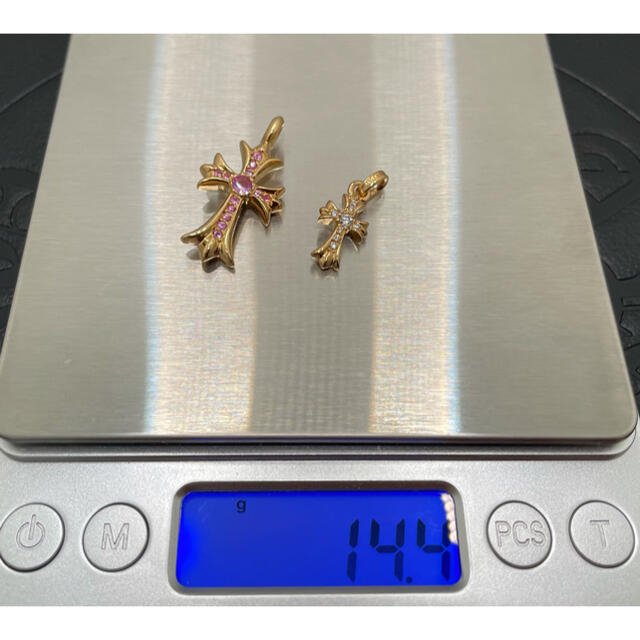 Chrome Hearts(クロムハーツ)の美品2点袋付クロムハーツ22kベビーファットダイヤタイニーピンクサファイアch  メンズのアクセサリー(ネックレス)の商品写真