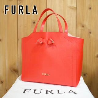フルラ(Furla)の【美品】フルラ ハンドバッグ インナーバッグ レザー リボン 保存袋付 オレンジ(ハンドバッグ)