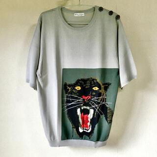 グリモワール(Grimoire)の大ひょう柄 半袖セーター 飾りボタン ヴィンテージ(ニット/セーター)