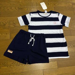 しまむら - 新品M2点セット半袖Tシャツとハーフパンツ紺白ボーダー柄ルームウェアロゴスデイズ