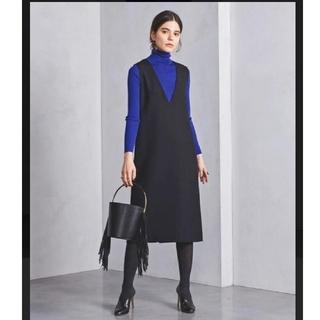 ユナイテッドアローズ(UNITED ARROWS)のユナイテッドアローズ UWSC タイト ジャンバースカート 美品 黒 ブラック(ひざ丈ワンピース)
