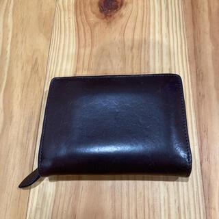 ムジルシリョウヒン(MUJI (無印良品))の無印良品 ヌメ革 ラウンドファスナー 二つ折り財布 ブラウン(財布)