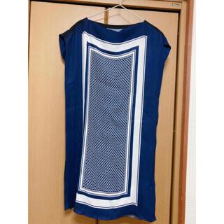 ランバン(LANVIN)のレア!Lanvin Collectionのスカーフ風ワンピース38サイズネイビー(ひざ丈ワンピース)
