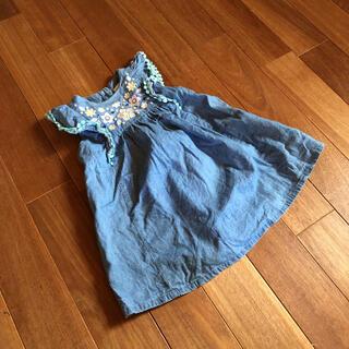 お花刺繍フリル袖デニムワンピース80.90(ワンピース)