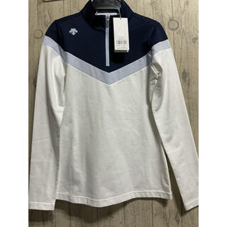DESCENTE - デサントDESCENTE  長袖シャツ Sサイズ レディースゴルフウェア 白 青
