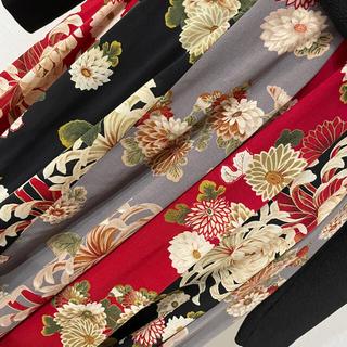 カネコイサオ(KANEKO ISAO)の☆ワンダフルワールド  和柄 菊柄3色12枚つぎ ポリスカート 丈出しあり(ロングスカート)