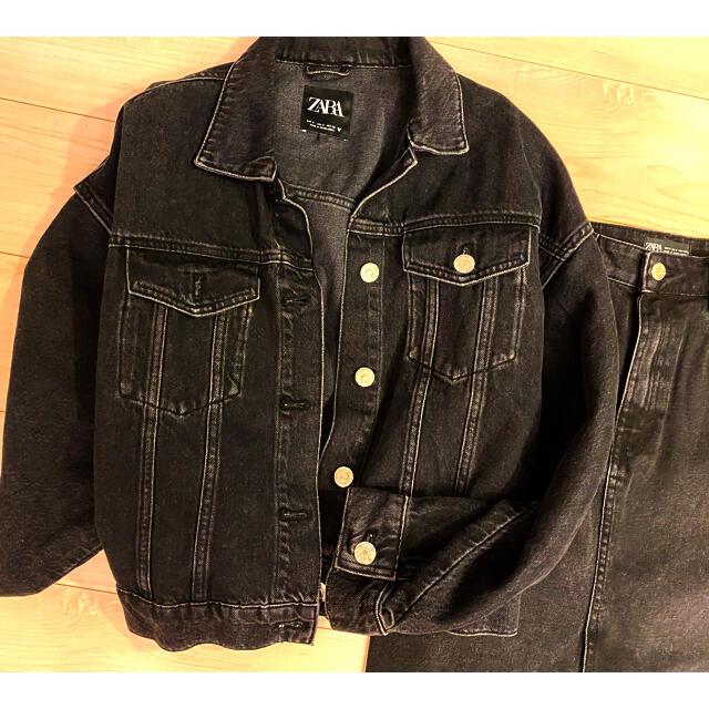 ZARA(ザラ)のZARA ブラックデニム オーバーサイズ Gジャン レディースのジャケット/アウター(Gジャン/デニムジャケット)の商品写真