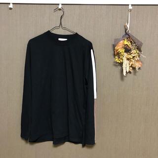 ステュディオス(STUDIOUS)のLui's バイカラーサイドラインカットソー ブラック(Tシャツ/カットソー(七分/長袖))