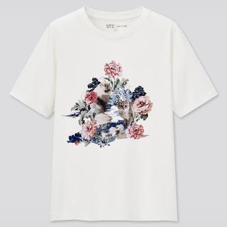ポールアンドジョー(PAUL & JOE)のポール&ジョー かわいい猫ちゃん柄Tシャツ オフホワイト XLサイズ 新品タグ付(Tシャツ(半袖/袖なし))