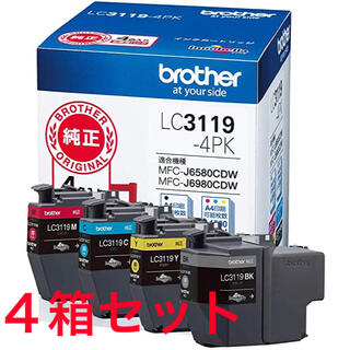 brother - 【ブラザー純正】インクカートリッジ4色パック(大容量) 4箱セット