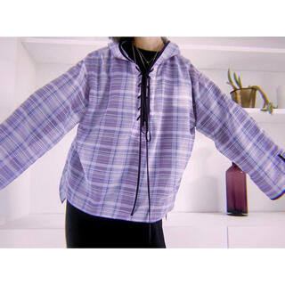 mame - solov 21ss sheer check lace up hoodie