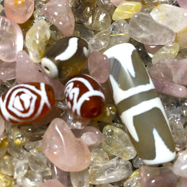 チベット天然鳳眼,双心杵,如意,虎牙天珠 パワーストーン ハンドメイドの素材/材料(各種パーツ)の商品写真