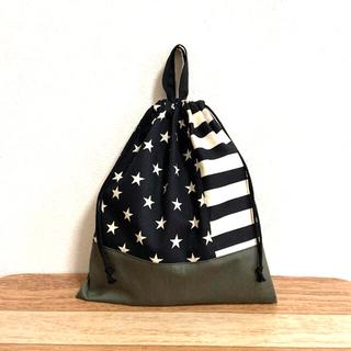星柄(ブラック)×ボーダー×カーキ 体操服袋 ハンドメイド(外出用品)