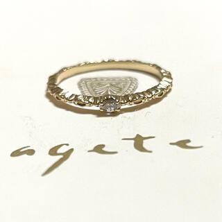 agete - agete K10 マーキスカット ダイヤモンド リング 7号