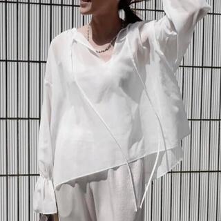 ロンハーマン(Ron Herman)のgypsohila Chiffon Blouse BLACK 新品未使用 タグ付(シャツ/ブラウス(長袖/七分))