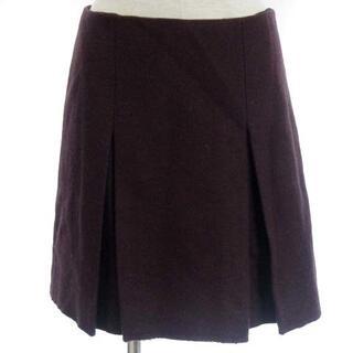 ミュウミュウ(miumiu)のミュウミュウ ボックスプリーツ スカート フレア 台形 ひざ丈 赤系 38(ひざ丈スカート)