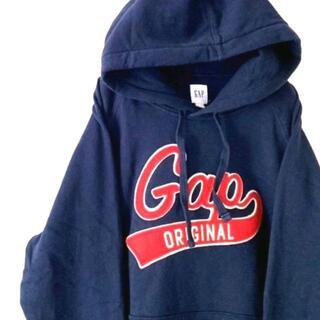 ギャップ(GAP)のGAP ギャップ 刺繍 スウェットパーカー デカロゴ ネイビー 紺色 古着(パーカー)