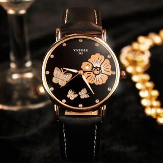 【配送無料】腕時計 メンズ 花柄 大人気  黒 メンズ腕時計