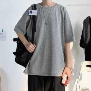 XL グレー メンズ シンプル 無地 ビッグシルエット Tシャツ ストリート