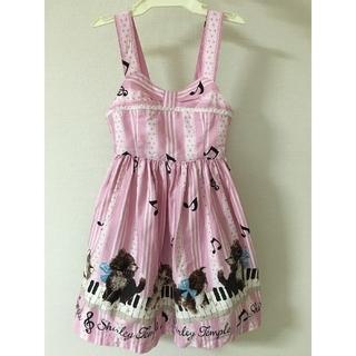 Shirley Temple - 値下げ)110 子猫の音楽会 ジャンパースカート ピンク