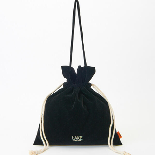 カスタネ(Kastane)のKastane ベロア巾着バッグ  ブラック(トートバッグ)