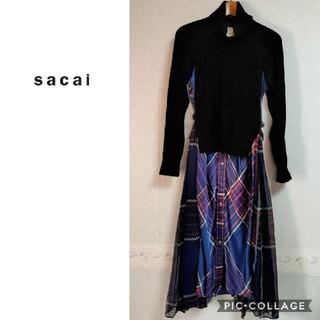 sacai - ◆サカイ◆Sacai 異素材 黒×チェック ドッキングワンピース