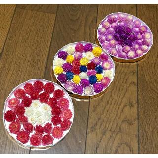F②  銀の紫陽花が作った可愛い♪ まん丸 Box入りの千日紅3個set‼️(ドライフラワー)