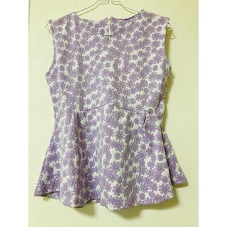 ダズリン(dazzlin)の花柄ペプラムトップス ラベンダー(Tシャツ(半袖/袖なし))