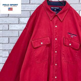 ポロラルフローレン(POLO RALPH LAUREN)のPOLO SPORT 激レア 長袖カラーシャツ ゆるだぼ ロゴ刺繍入 レッドXL(シャツ)