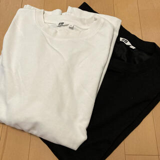 UNIQLO - エアリズムコットンオーバーサイズTシャツ(5分袖) ホワイト ブラック セット