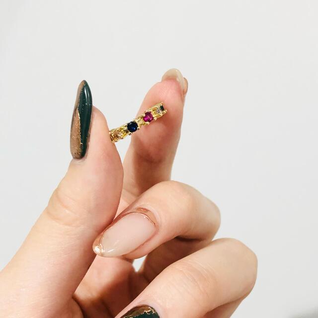 Ameri VINTAGE(アメリヴィンテージ)の321◇New レインボー カラーデザイン イヤーカフ 片耳用 ゴールド レディースのアクセサリー(イヤーカフ)の商品写真