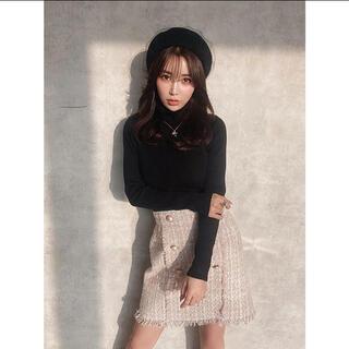 エイミーイストワール(eimy istoire)のツイードフリンジミニスカート  PINK (ミニスカート)