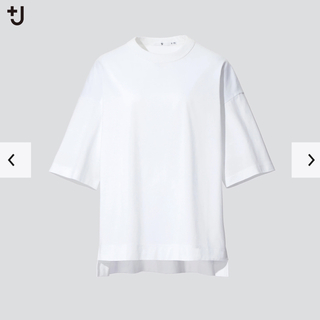 UNIQLO - スーピマコットンオーバーサイズTシャツ ユニクロ +j ホワイト Lサイズ