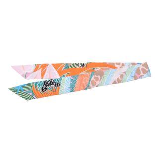 エルメス(Hermes)のエルメス  ツイリー スカーフ グリーン/オレンジ/ピンク(バンダナ/スカーフ)