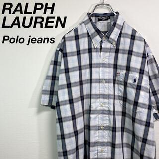 Ralph Lauren - 古着 ラルフローレン ポロジーンズ 半袖シャツ L 刺繍ロゴ アメリカ国旗