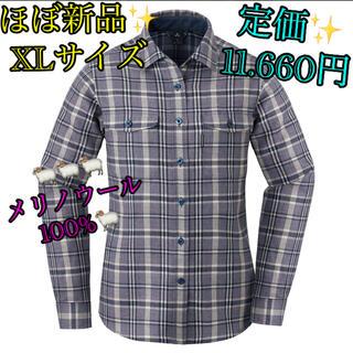 モンベル(mont bell)のほぼ未使用mont-bellモンベル ウール100% XLチェックシャツ シャツ(シャツ/ブラウス(長袖/七分))