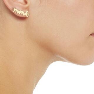 MM6 - 【新品】 MM6 ロゴ スタッズ イヤリング gold 片耳 ¥18,700