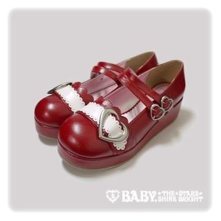 ベイビーザスターズシャインブライト(BABY,THE STARS SHINE BRIGHT)の値下げ【BABY】 ハートバックルシューズ 美品 サイズM(ローファー/革靴)