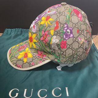 Gucci - グッチ GUCCI 帽子 キャップ  フローラル プリント GG  レザー