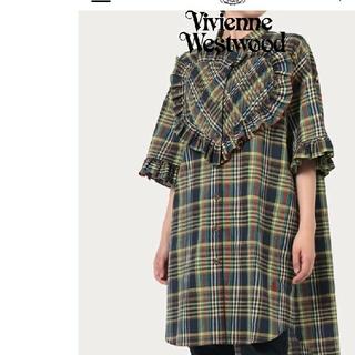 ヴィヴィアンウエストウッド(Vivienne Westwood)の美品 viviennewestwood ハート ラブ チェック 半袖 ワンピース(ミニワンピース)