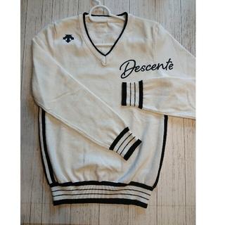 DESCENTE - DESCENTEゴルフ 白×黒 セーター Ssize
