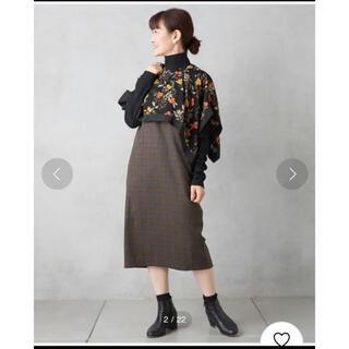 イアパピヨネ(ear PAPILLONNER)の花柄スカーフ ワンピース(ひざ丈ワンピース)