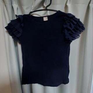 petit main - プティマインpetit main 紺 ネイビー 130センチ 半袖フリルTシャツ