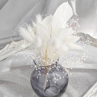 ホワイトスワッグ&グレイフラワーベース(ガラス製)(ドライフラワー)