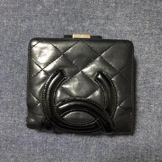 CHANEL - CHANELシャネル カンボンライン ココマーク 折り財布 黒X黒Xピンク